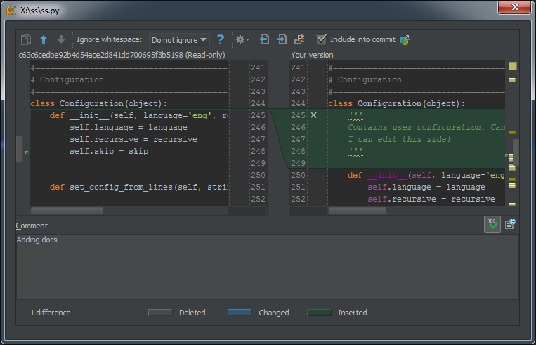 pycharm-commit-diff